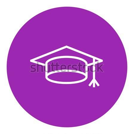 Stockfoto: Afstuderen · cap · lijn · icon · web · mobiele