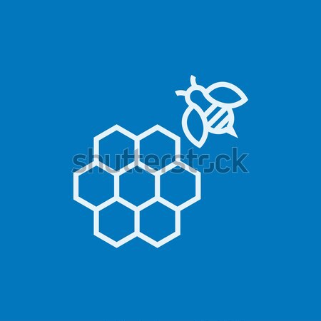 Honeycomb and bee line icon. Stock photo © RAStudio