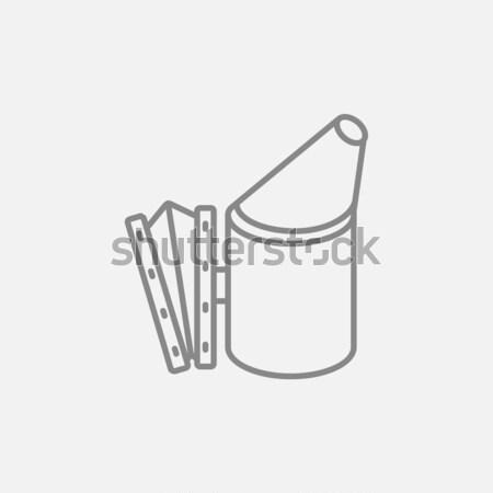 Abeille ruche fumeur ligne icône web Photo stock © RAStudio