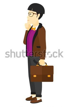 Stock fotó: Szégyenkezve · fiatalember · férfi · arc · kéz · vektor
