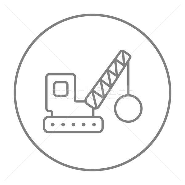 Yıkım vinç hat ikon web hareketli Stok fotoğraf © RAStudio