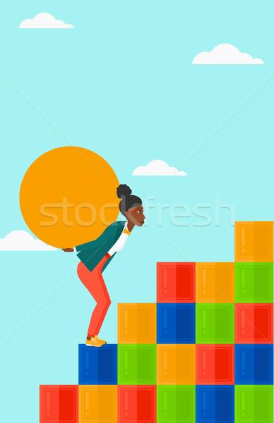 Vrouw steen omhoog gekleurd Stockfoto © RAStudio