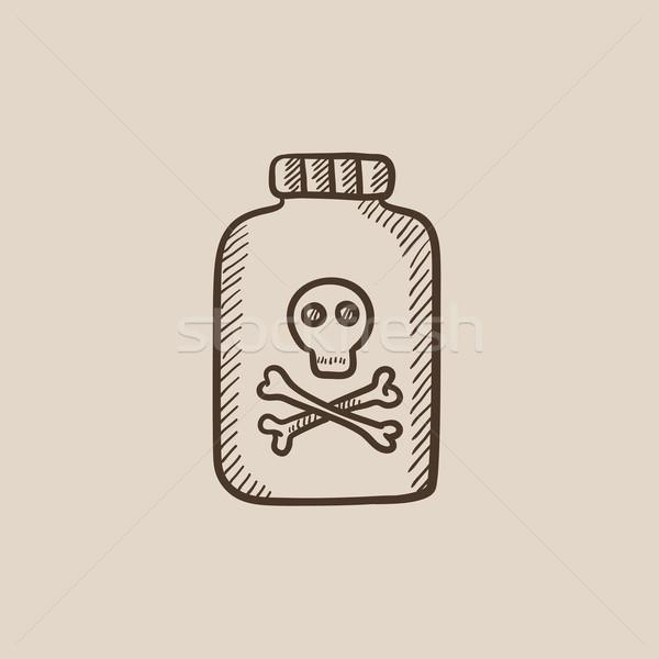 Garrafa veneno esboço ícone teia móvel Foto stock © RAStudio