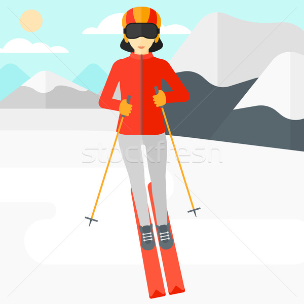 Young woman skiing. Stock photo © RAStudio
