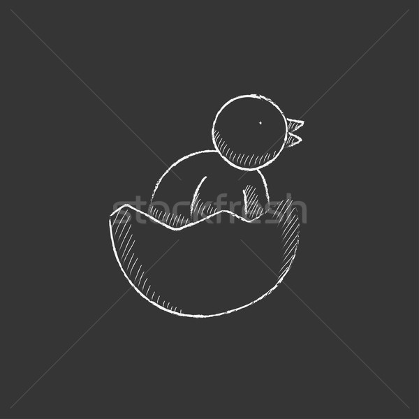 Chick peeking out of egg shell. Drawn in chalk icon. Stock photo © RAStudio