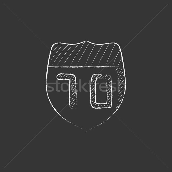 Route road sign. Drawn in chalk icon. Stock photo © RAStudio