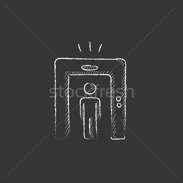Férfi fém detektor kapu rajzolt kréta Stock fotó © RAStudio