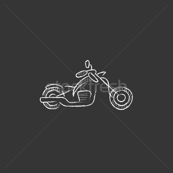 Motosiklet tebeşir ikon vektör Stok fotoğraf © RAStudio