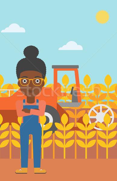 女性 立って 収穫 小麦 ベクトル デザイン ストックフォト © RAStudio