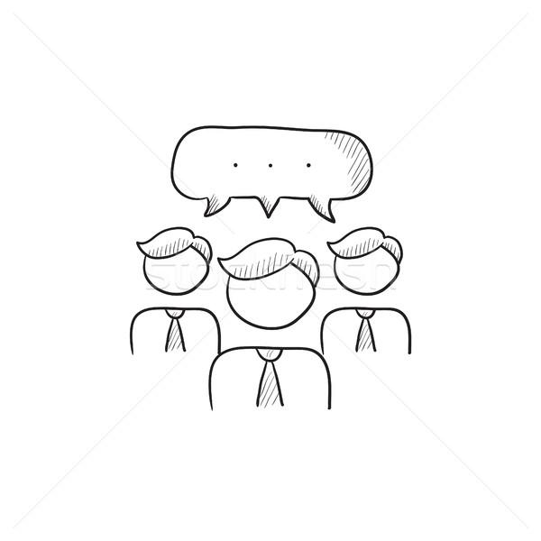 People with speech square above heads sketch icon. Stock photo © RAStudio
