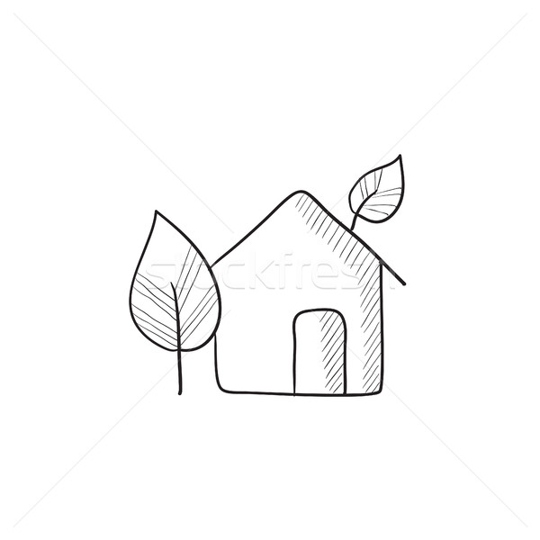 Eco-friendly house sketch icon. Stock photo © RAStudio