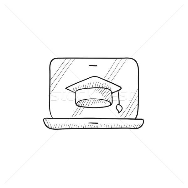 Laptop with graduation cap on screen sketch icon. Stock photo © RAStudio