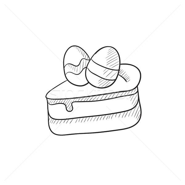 Easter cake with eggs sketch icon. Stock photo © RAStudio