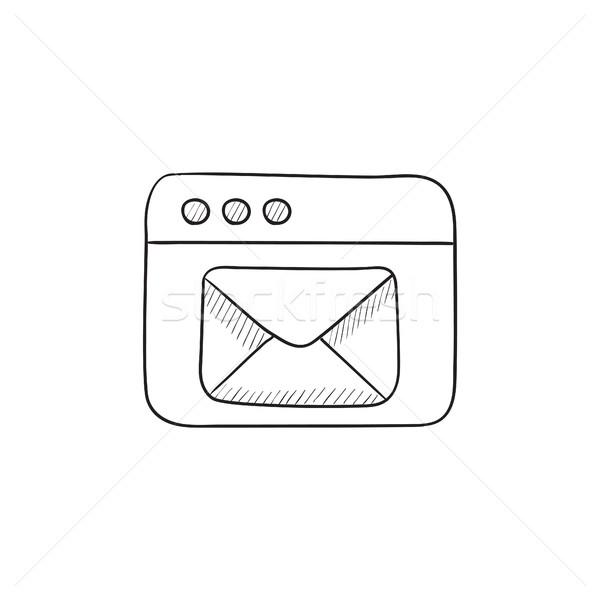 Navegador ventana electrónico mail boceto icono Foto stock © RAStudio