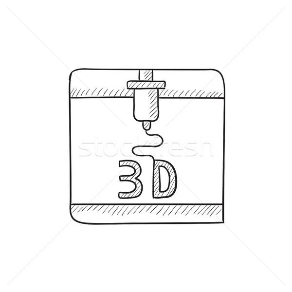 дерево печати эскиз икона вектора изолированный Сток-фото © RAStudio