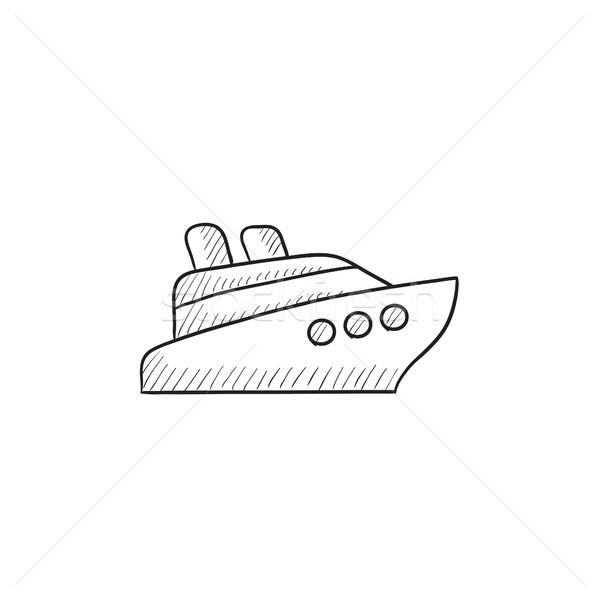 Cruiseschip schets icon vector geïsoleerd Stockfoto © RAStudio