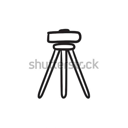 Stock photo: Theodolite on tripod sketch icon.