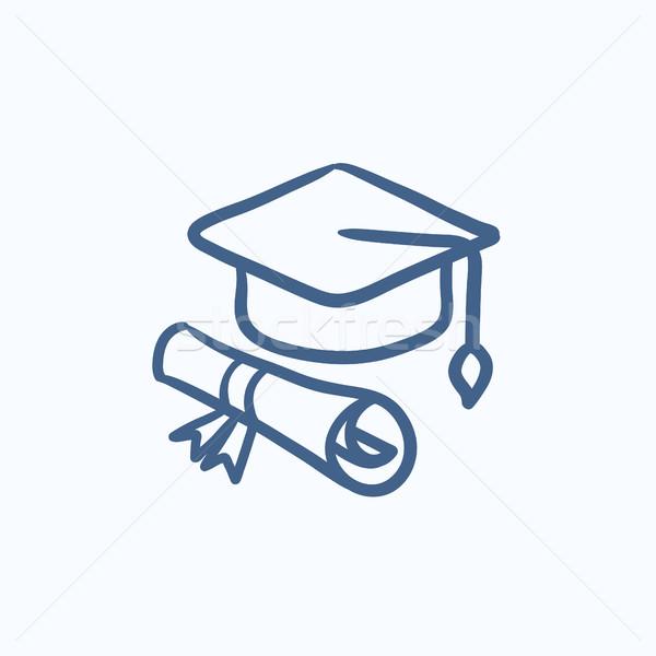 Graduation cap with paper scroll sketch icon. Stock photo © RAStudio