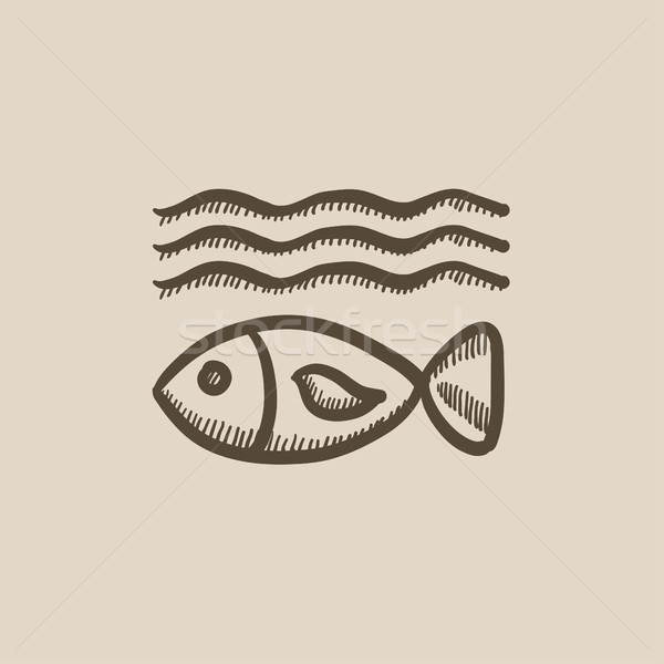 Fish under water sketch icon. Stock photo © RAStudio