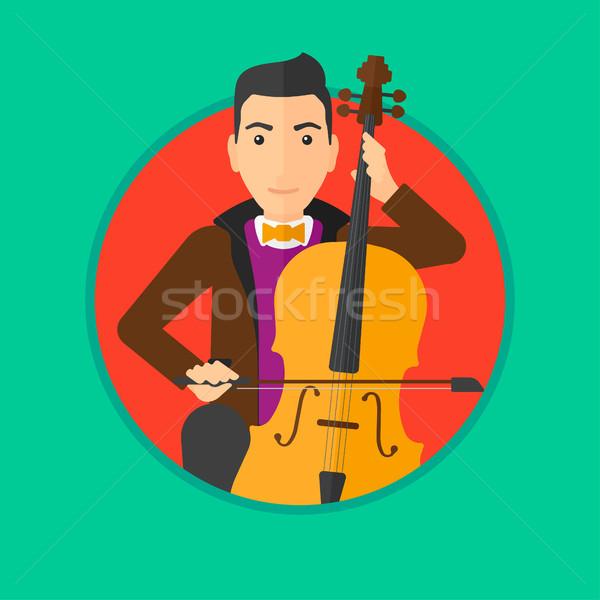 Adam oynama viyolonsel genç viyolonsel çalan müzisyen klasik müzik Stok fotoğraf © RAStudio