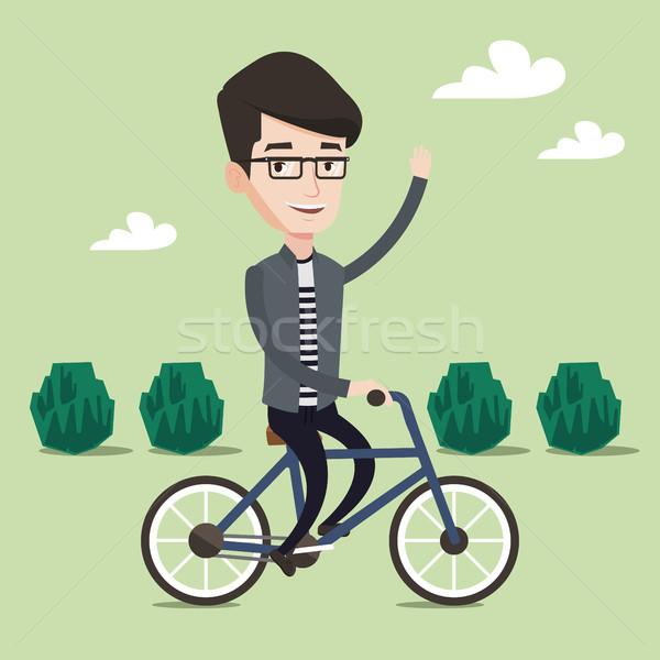 Stock fotó: Férfi · lovaglás · bicikli · park · kerékpáros · bicikli