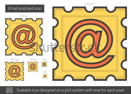 электронная почта открытки линия икона вектора изолированный Сток-фото © RAStudio