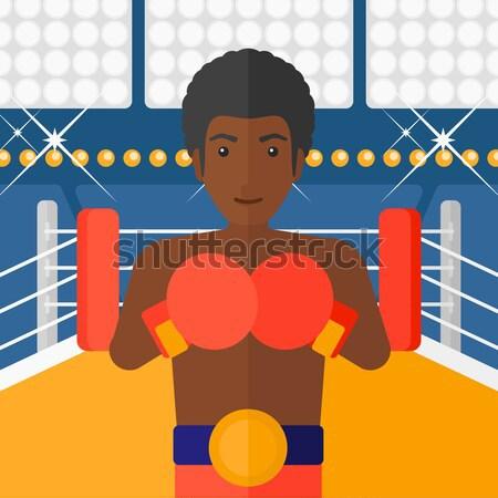 Boxoló kesztyű ázsiai sportoló boxkesztyűk fiatal Stock fotó © RAStudio
