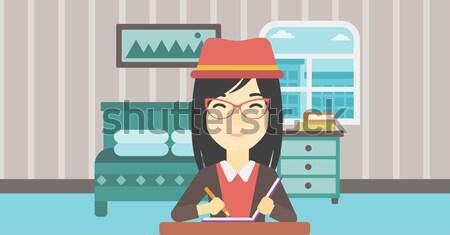 Woman travelling by bus vector illustration. Stock photo © RAStudio