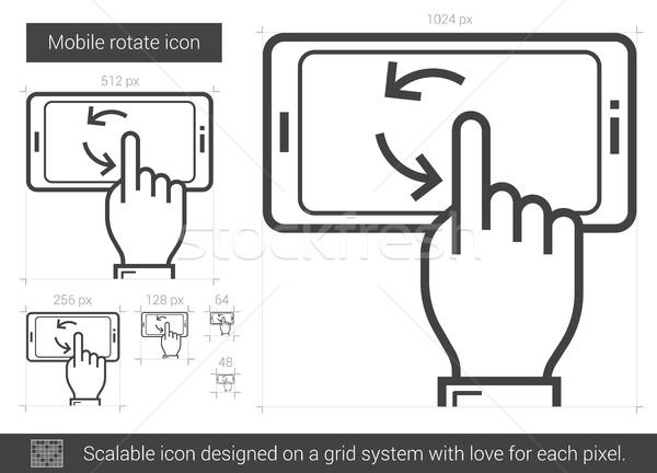 Mobil forgat vonal ikon vektor izolált Stock fotó © RAStudio