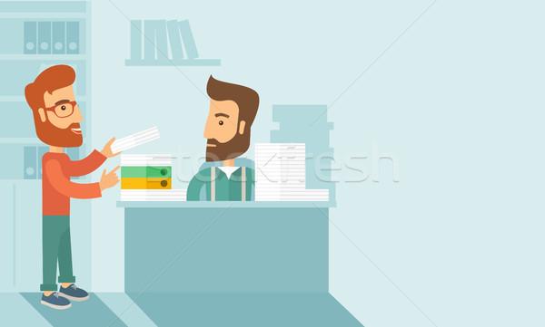 Drukke man papier werk ander stressvolle Stockfoto © RAStudio