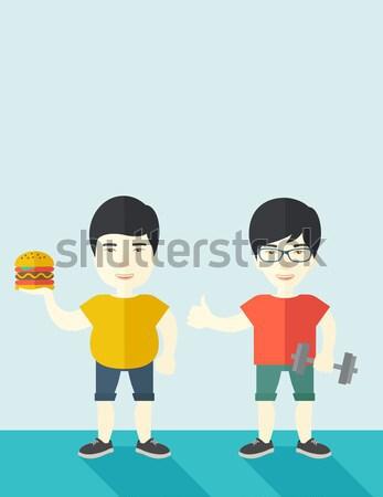 Férfiak visel rövidnadrág ujjatlan kettő jóképű Stock fotó © RAStudio