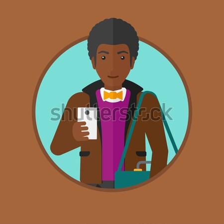 Affaires commerce mondial permanent carte homme d'affaires Photo stock © RAStudio