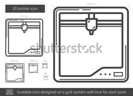 Three D printer line icon. Stock photo © RAStudio