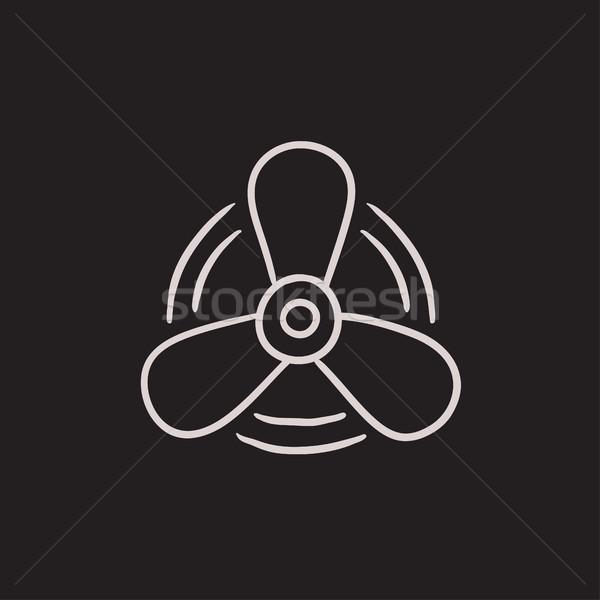 лодка пропеллер эскиз икона вектора изолированный Сток-фото © RAStudio