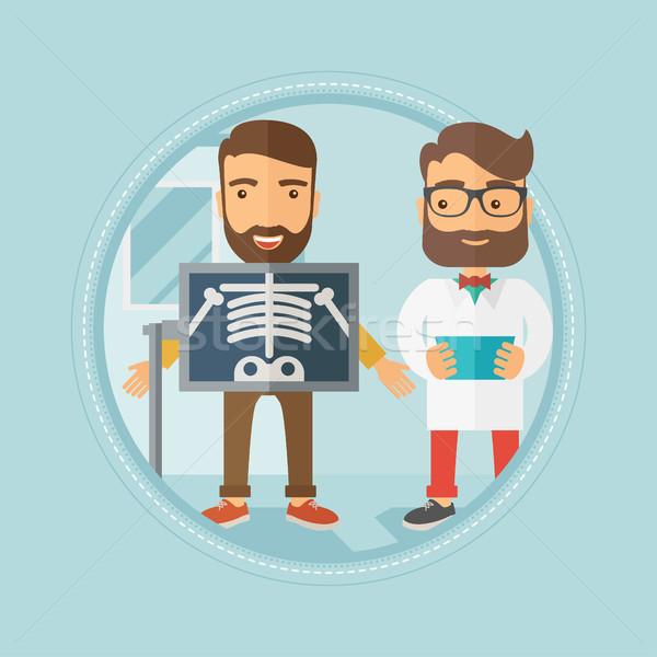 Beteg röntgen eljárás kaukázusi hipszter szakáll Stock fotó © RAStudio