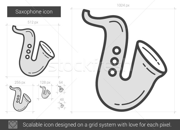 Szaxofon vonal ikon vektor izolált fehér Stock fotó © RAStudio