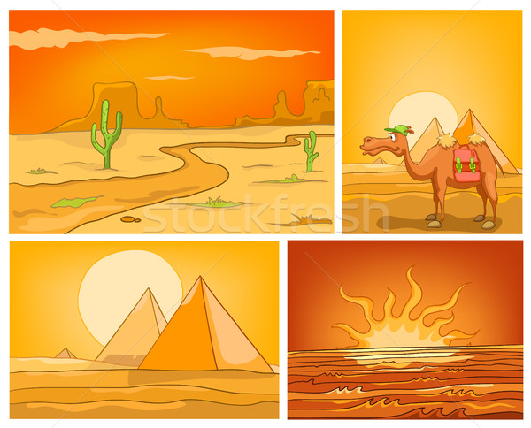 Stock photo: Vector cartoon set of desert backgrounds.