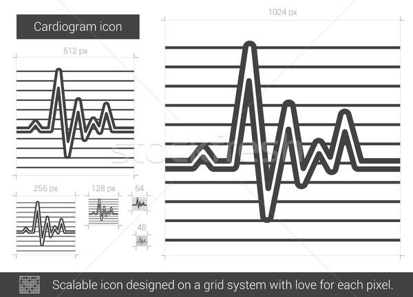 Kardiogram lijn icon vector geïsoleerd witte Stockfoto © RAStudio