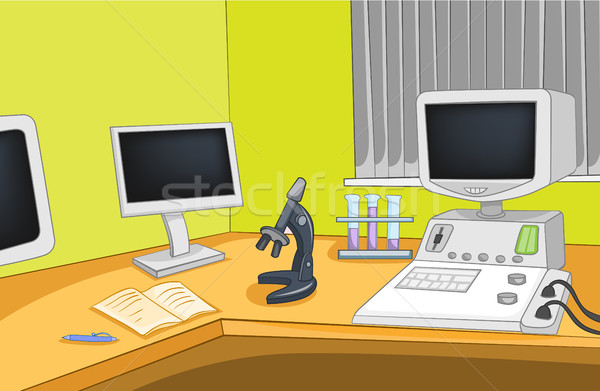 Cartoon background of physics laboratory. Stock photo © RAStudio