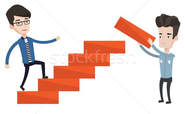Zakenman lopen naar boven man omhoog carriere Stockfoto © RAStudio