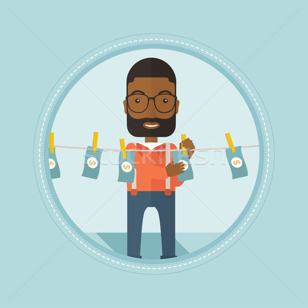 Businessman laundering money vector illustration. Stock photo © RAStudio