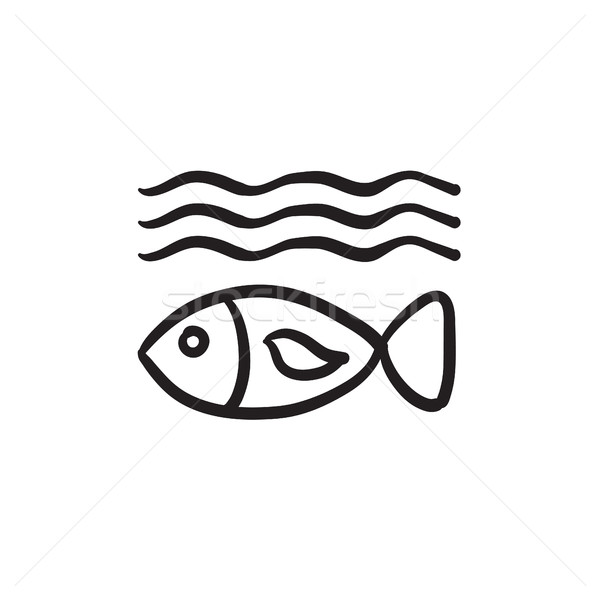 Stock photo: Fish under water sketch icon.