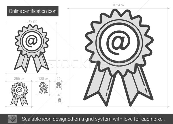 Online certificazione line icona vettore isolato Foto d'archivio © RAStudio