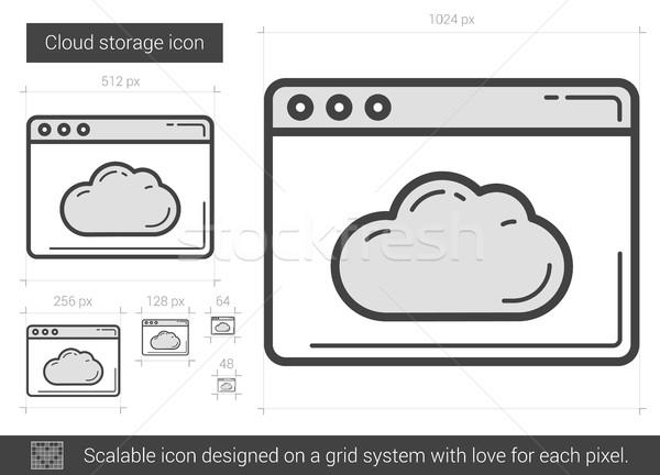 Wolk opslag lijn icon vector geïsoleerd Stockfoto © RAStudio