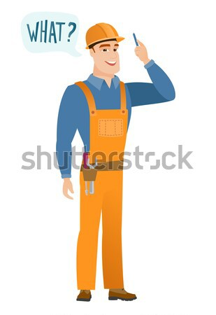 Young caucasian builder laughing out loud. Stock photo © RAStudio