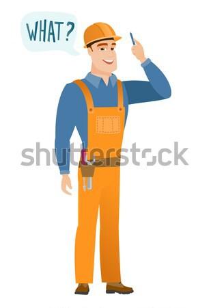 Stockfoto: Jonge · kaukasisch · bouwer · lachend · uit · luid
