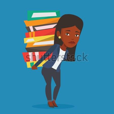 Diák köteg könyvek ázsiai fáradt hordoz Stock fotó © RAStudio