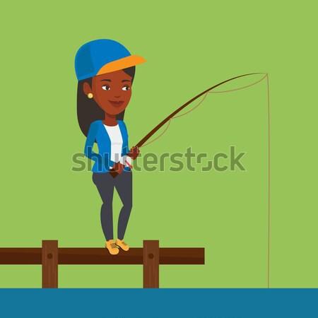 Woman fishing on jetty vector illustration. Stock photo © RAStudio