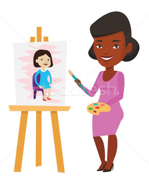 Creative женщины художник Живопись портрет молодые Сток-фото © RAStudio