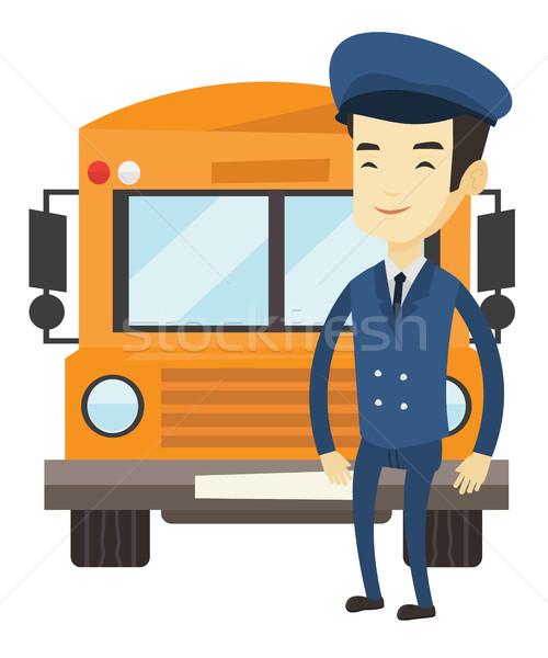 Iskolabusz sofőr fiatal ázsiai áll citromsárga Stock fotó © RAStudio
